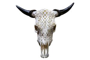 Celtic Design Carved Bull Skull